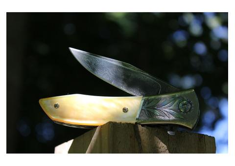 """Richard Wright Custom Model 8 Gents Liner Lock Flipper Knife (3.5"""" Damascus)"""