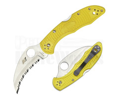 "Spyderco Tasman Salt 2 Knife Yellow FRN (2.8"" Satin Serr) C106SYL2"
